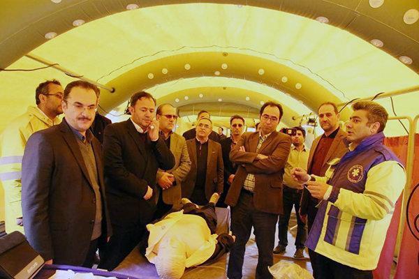 مانور برپایی بیمارستان صحرایی در اردبیل برگزار گردید
