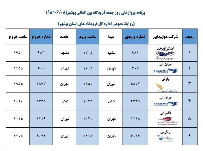 جدول پرواز های فرودگاه بوشهر در 8 شهریور 98