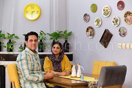 دکوراسیون زرد در خانه گرم هنگامه و محمد